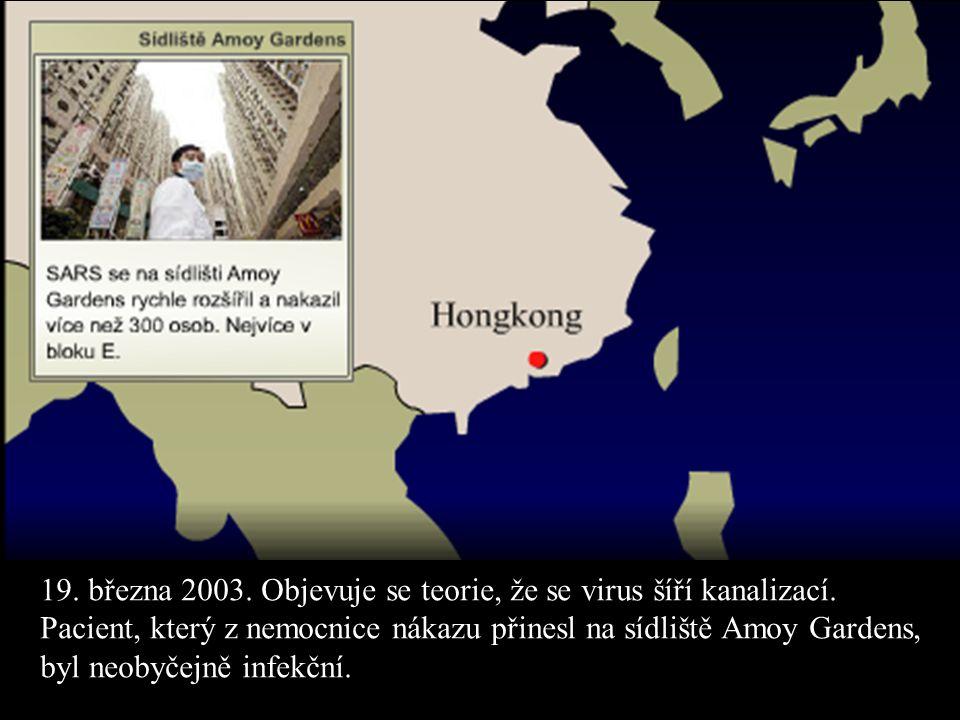19. března 2003. Objevuje se teorie, že se virus šíří kanalizací.