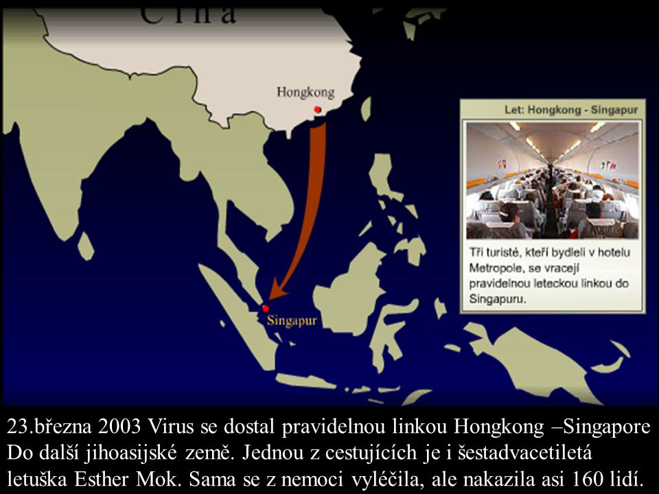 23.března 2003 Virus se dostal pravidelnou linkou Hongkong –Singapore