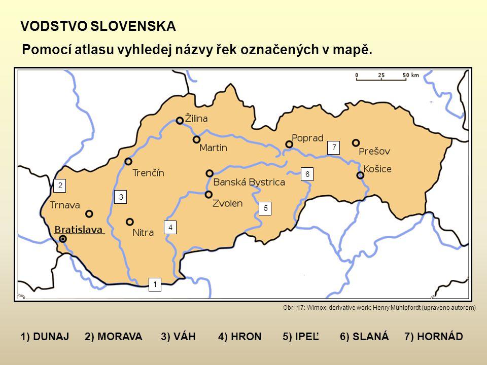Pomocí atlasu vyhledej názvy řek označených v mapě.