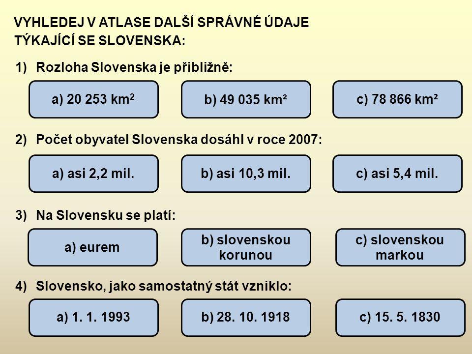 VYHLEDEJ V ATLASE DALŠÍ SPRÁVNÉ ÚDAJE TÝKAJÍCÍ SE SLOVENSKA: