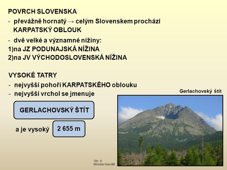 převážně hornatý → celým Slovenskem prochází KARPATSKÝ OBLOUK