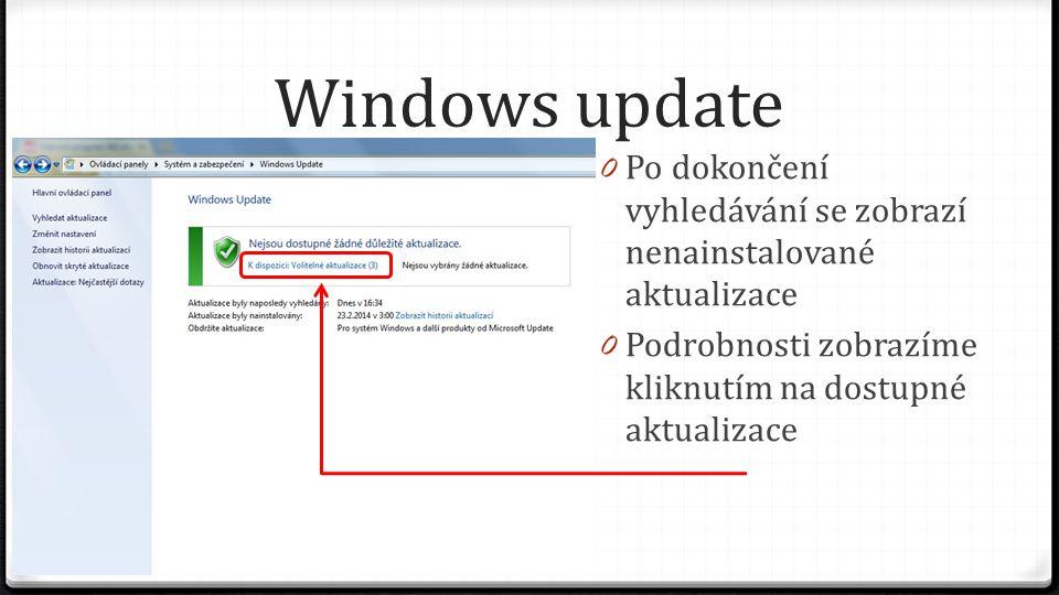 Windows update Po dokončení vyhledávání se zobrazí nenainstalované aktualizace.