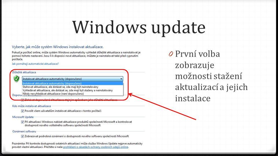 Windows update První volba zobrazuje možnosti stažení aktualizací a jejich instalace