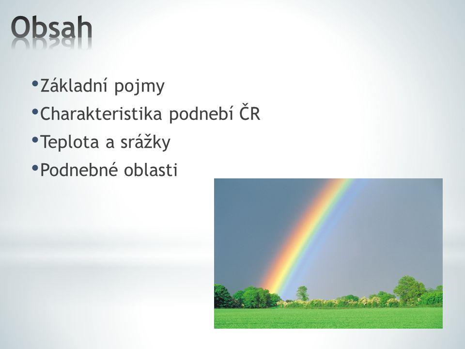 Obsah Základní pojmy Charakteristika podnebí ČR Teplota a srážky