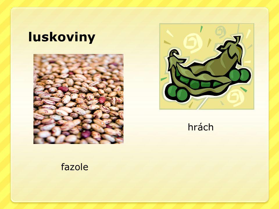 luskoviny hrách fazole