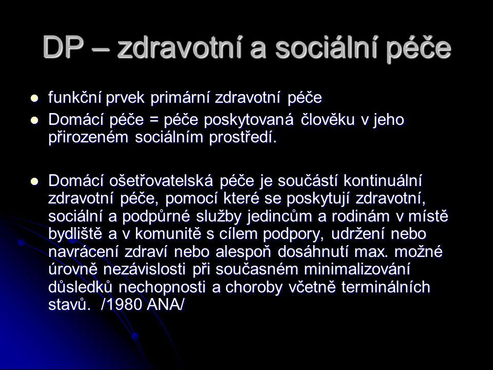 DP – zdravotní a sociální péče