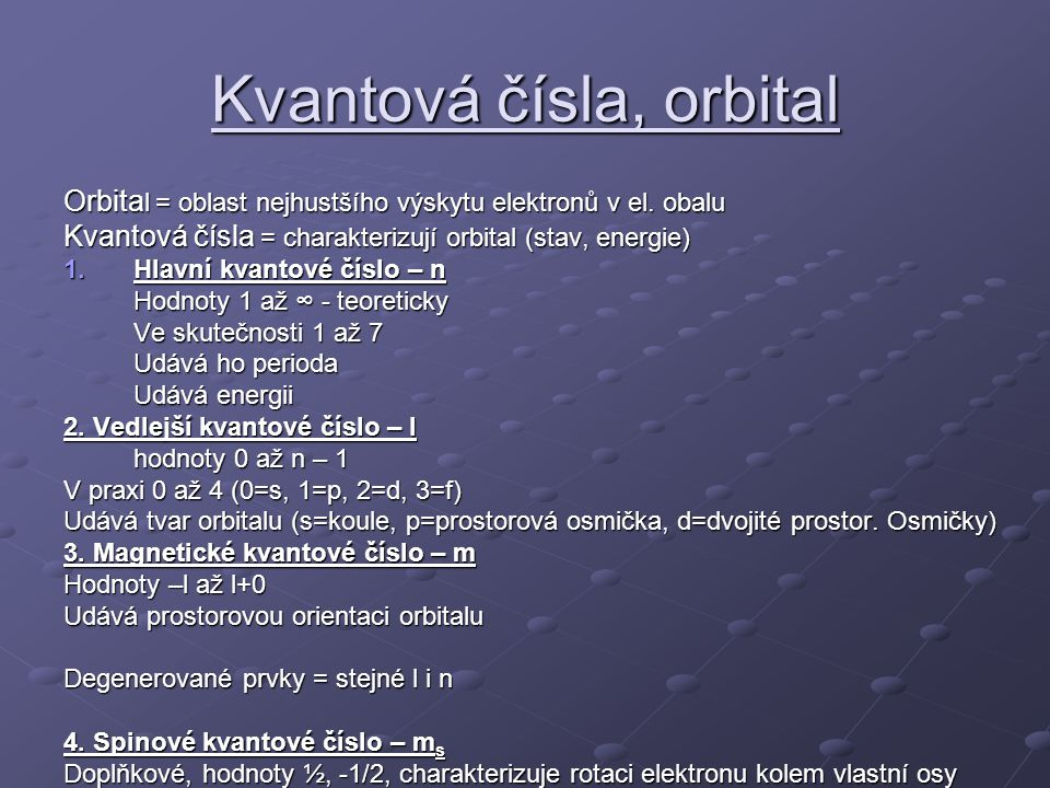 Kvantová čísla, orbital