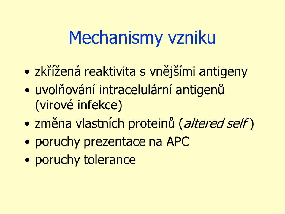 Mechanismy vzniku zkřížená reaktivita s vnějšími antigeny