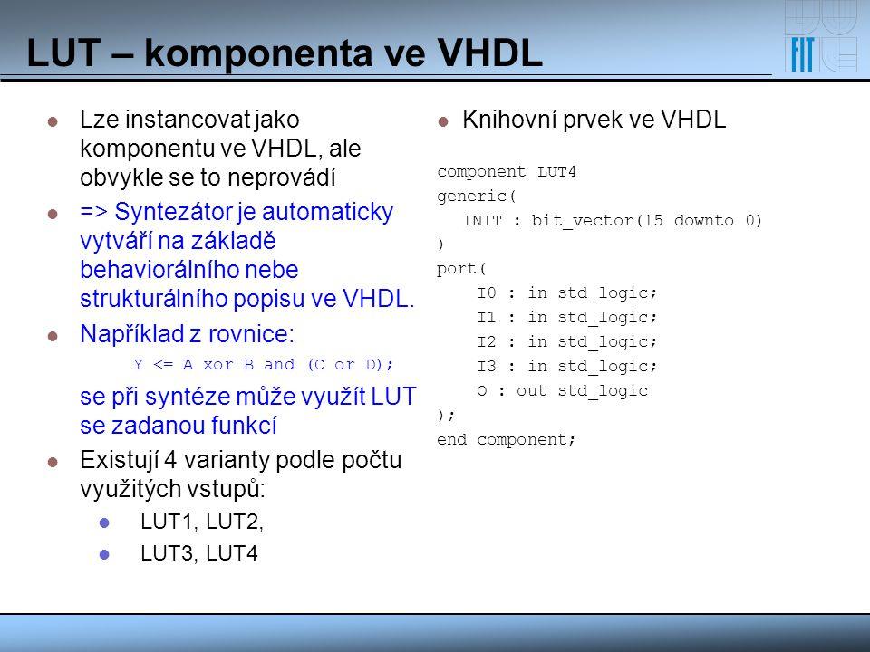 LUT – komponenta ve VHDL