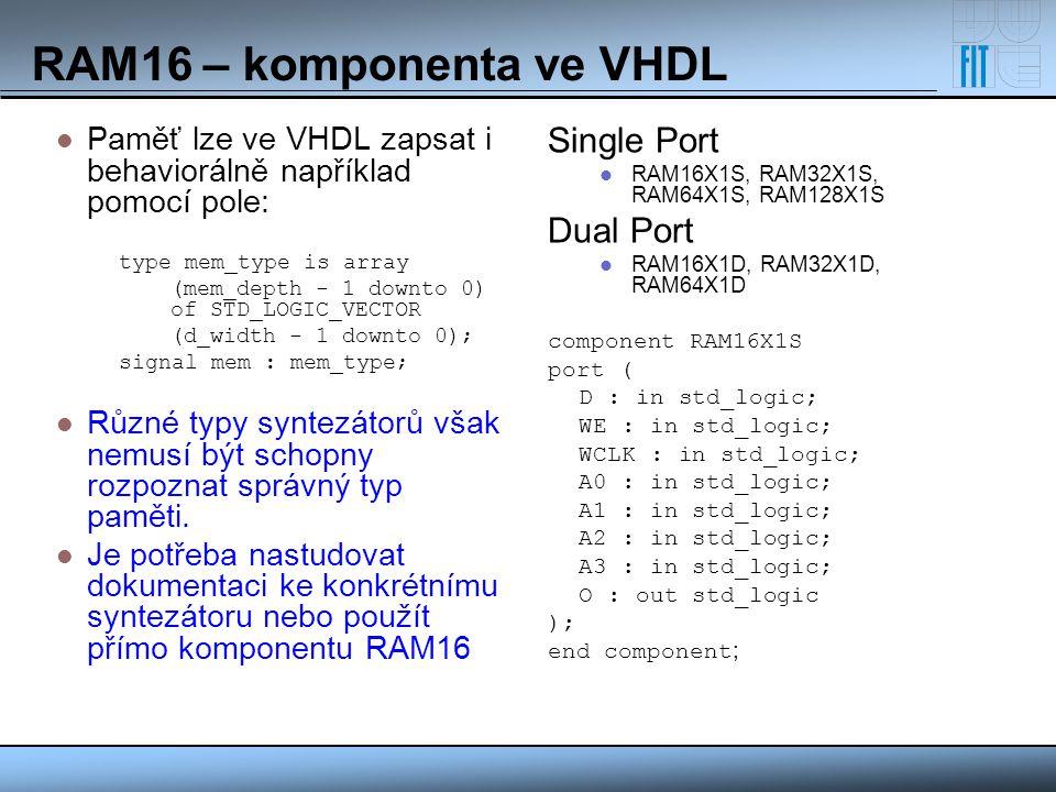 RAM16 – komponenta ve VHDL