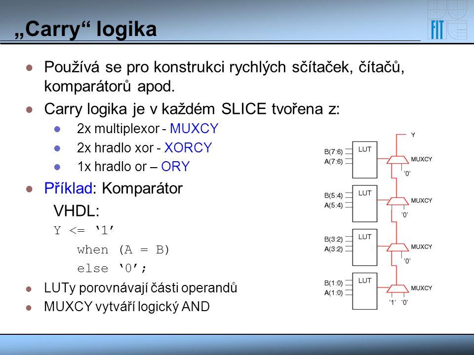 """""""Carry logika Používá se pro konstrukci rychlých sčítaček, čítačů, komparátorů apod. Carry logika je v každém SLICE tvořena z:"""