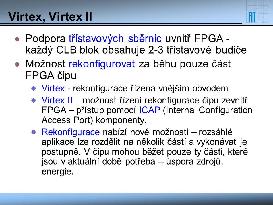 Virtex, Virtex II Podpora třístavových sběrnic uvnitř FPGA - každý CLB blok obsahuje 2-3 třístavové budiče.