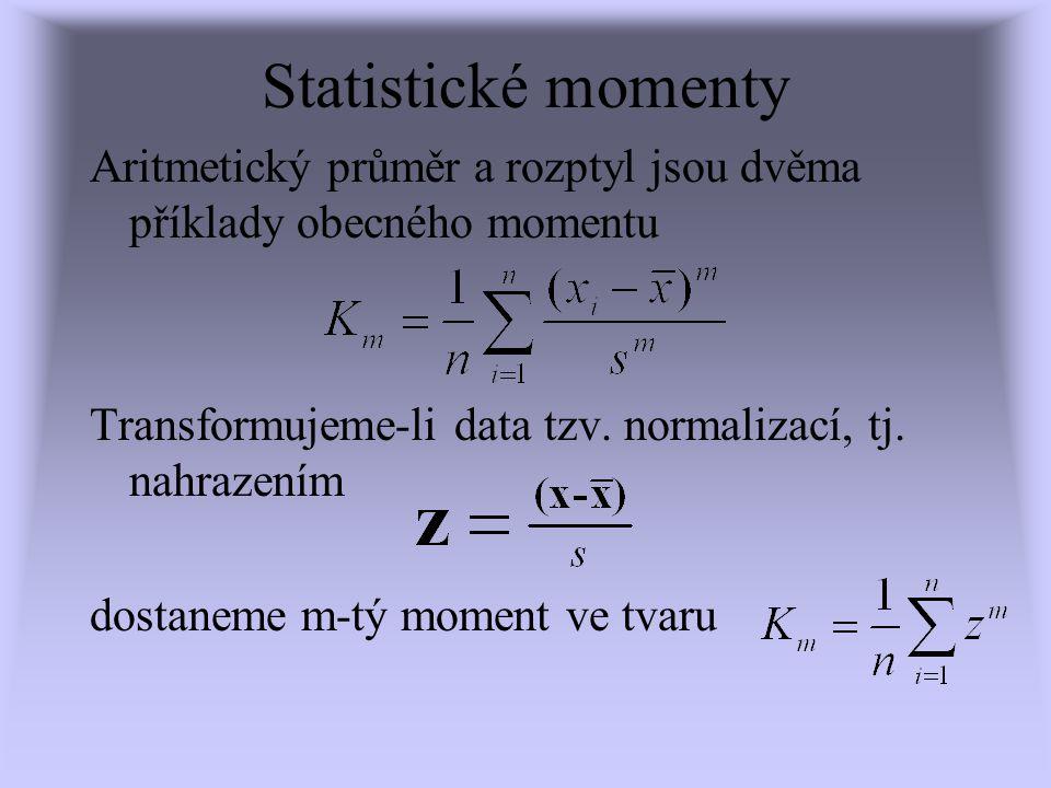 Statistické momenty Aritmetický průměr a rozptyl jsou dvěma příklady obecného momentu. Transformujeme-li data tzv. normalizací, tj. nahrazením.