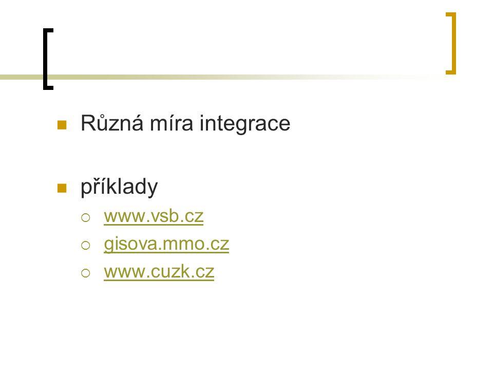 Různá míra integrace příklady www.vsb.cz gisova.mmo.cz www.cuzk.cz