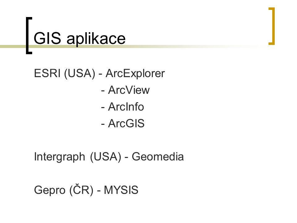 GIS aplikace ESRI (USA) - ArcExplorer - ArcView - ArcInfo - ArcGIS