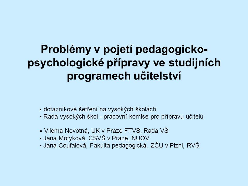 Problémy v pojetí pedagogicko-psychologické přípravy ve studijních programech učitelství