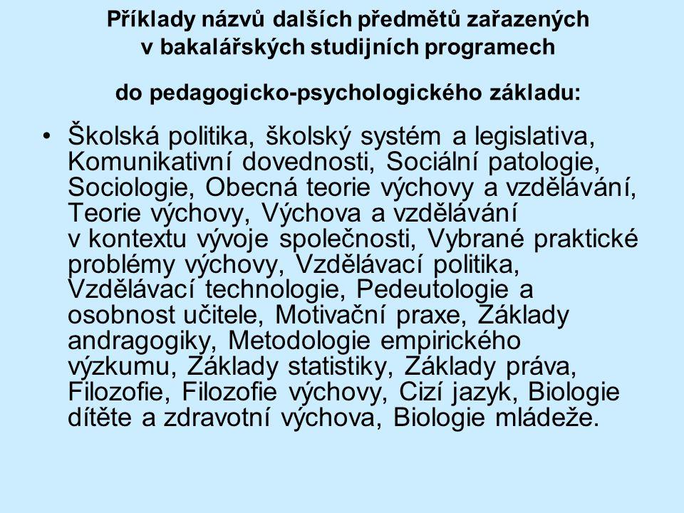 Příklady názvů dalších předmětů zařazených v bakalářských studijních programech do pedagogicko-psychologického základu: