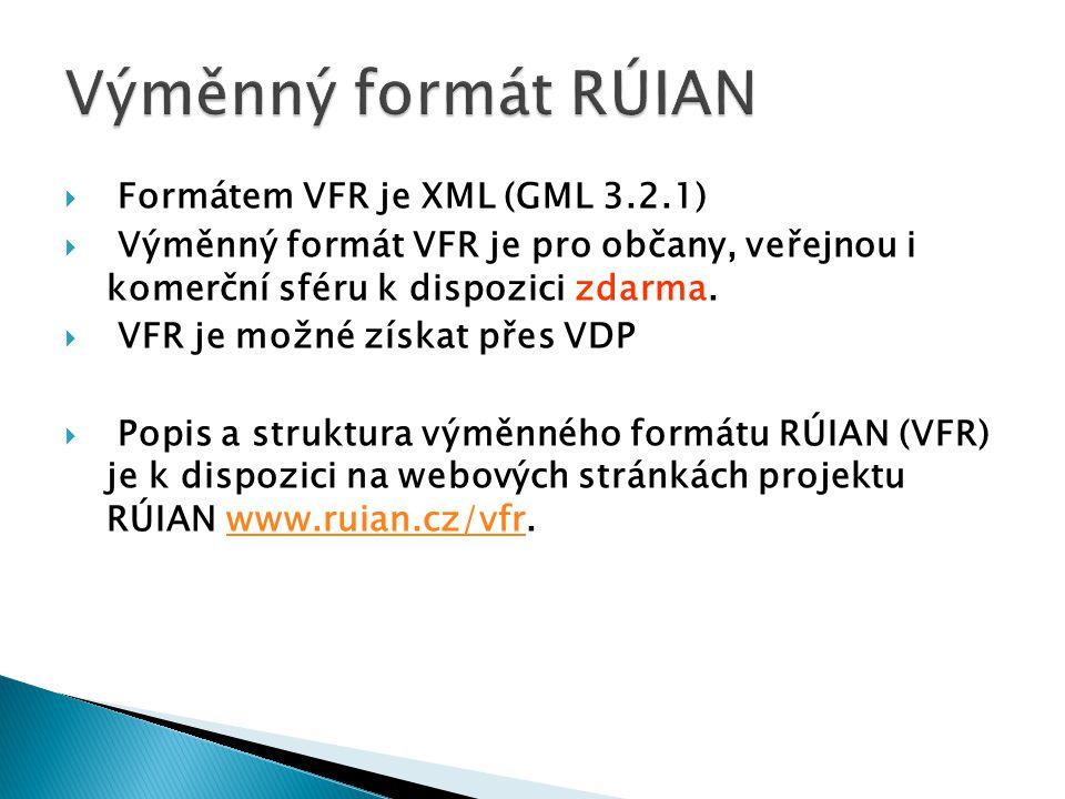 Výměnný formát RÚIAN Formátem VFR je XML (GML 3.2.1)