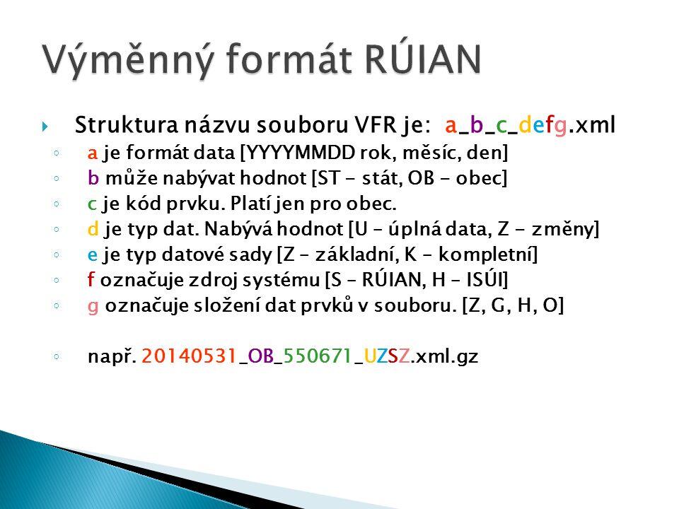 Výměnný formát RÚIAN Struktura názvu souboru VFR je: a_b_c_defg.xml