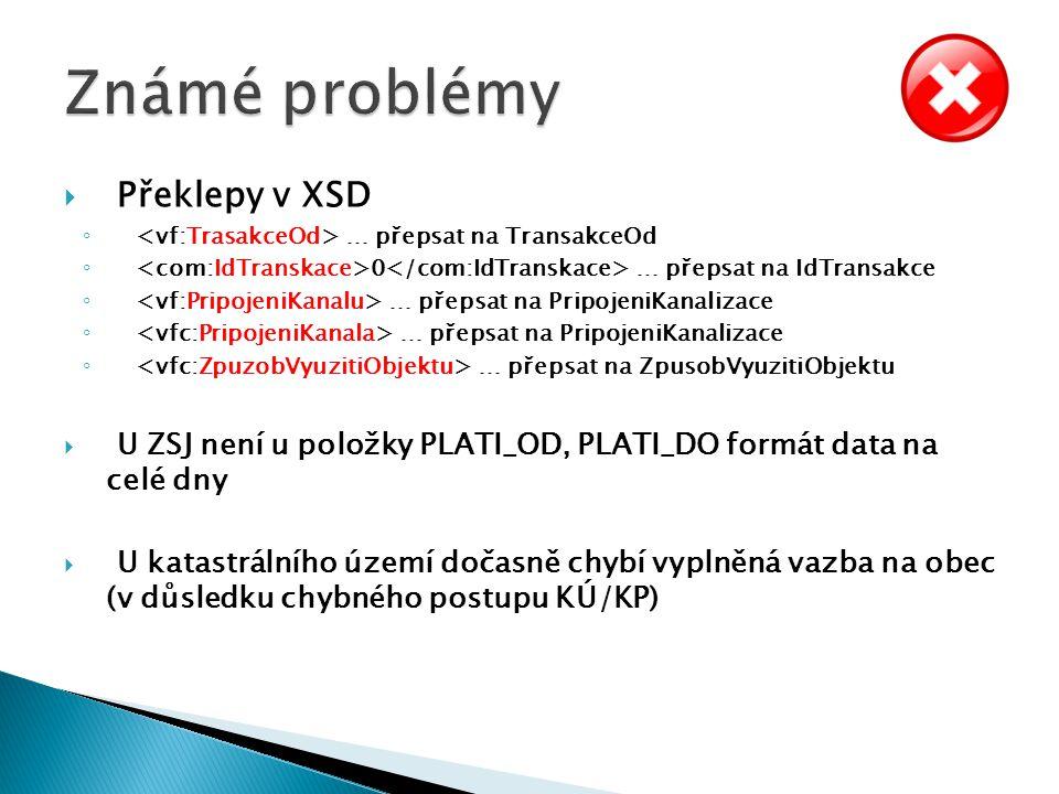 Známé problémy Překlepy v XSD