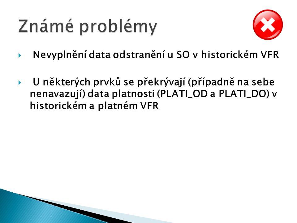 Známé problémy Nevyplnění data odstranění u SO v historickém VFR