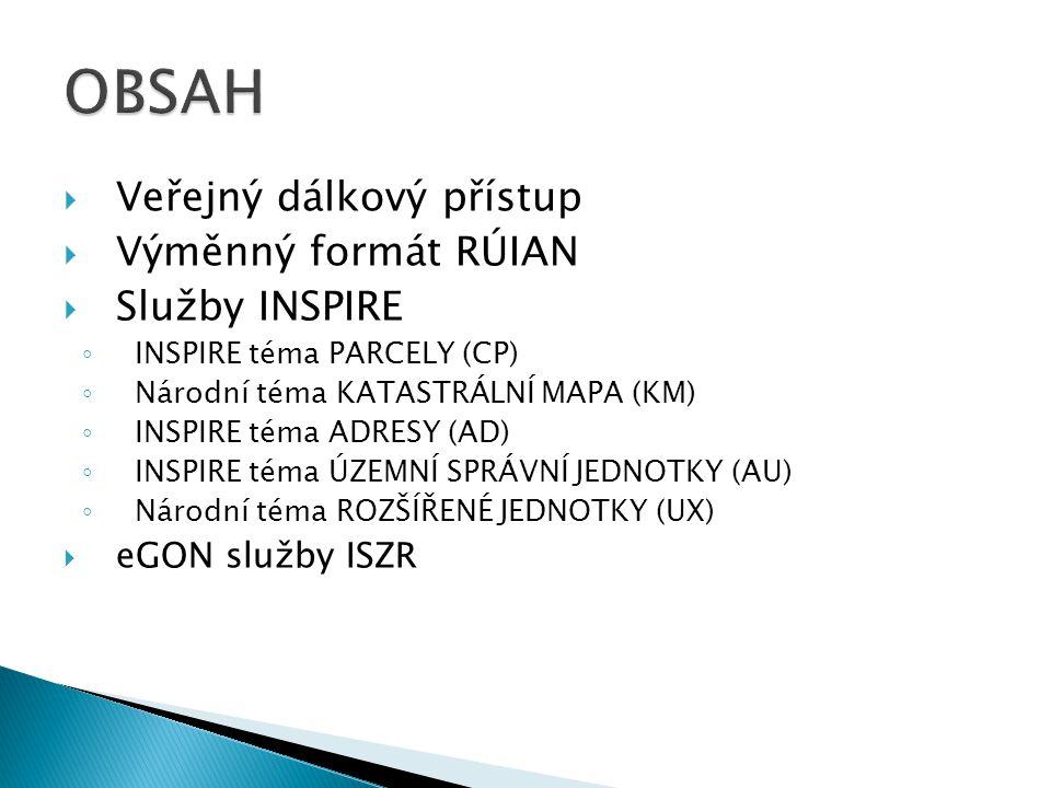 OBSAH Veřejný dálkový přístup Výměnný formát RÚIAN Služby INSPIRE