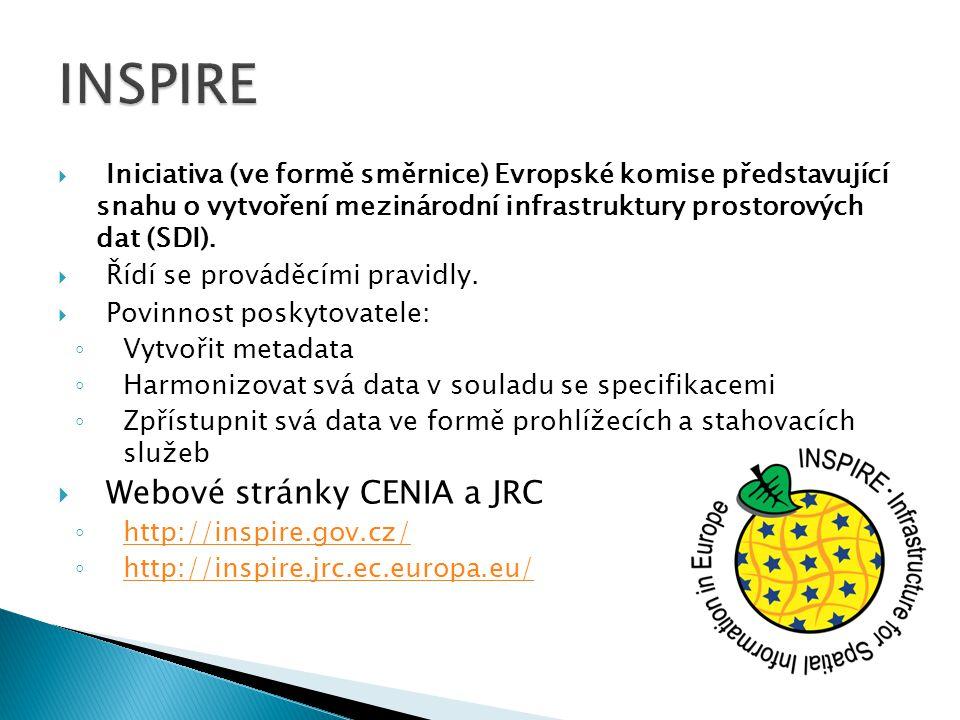 INSPIRE Webové stránky CENIA a JRC