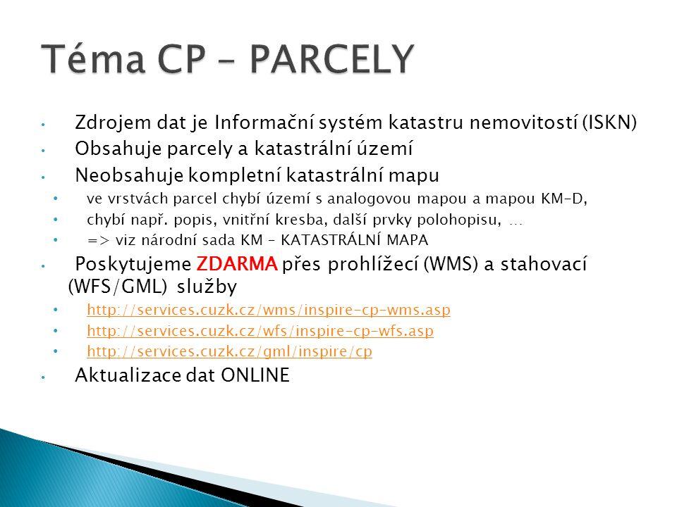 Téma CP – PARCELY Zdrojem dat je Informační systém katastru nemovitostí (ISKN) Obsahuje parcely a katastrální území.