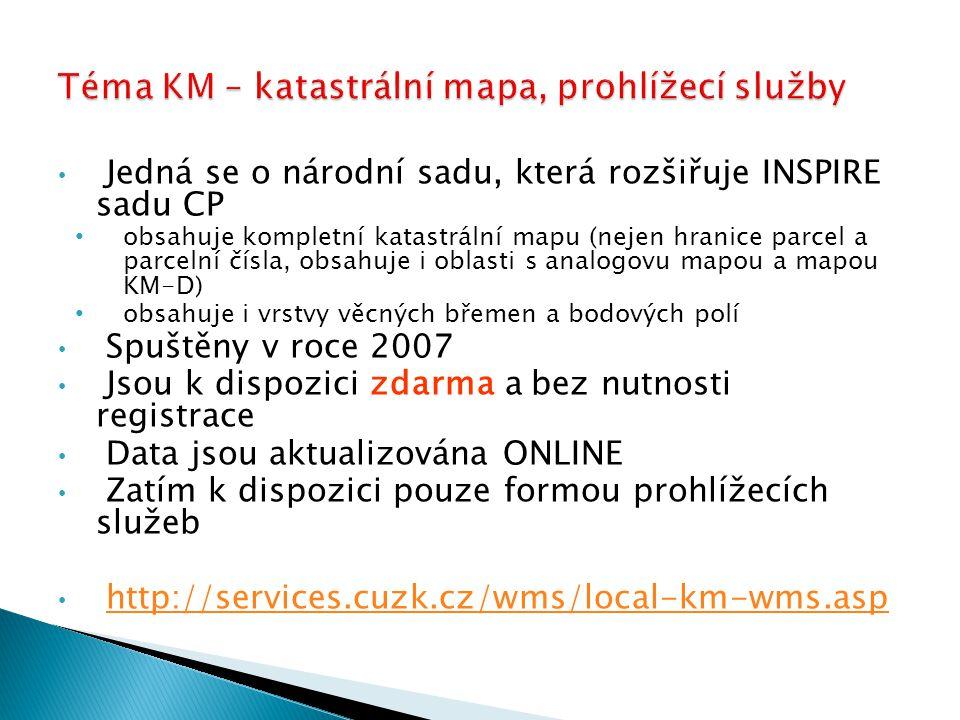 Téma KM – katastrální mapa, prohlížecí služby