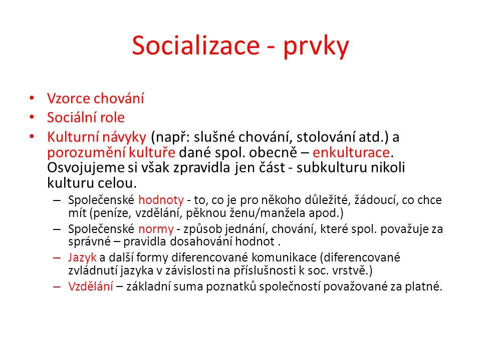 Socializace - prvky Vzorce chování Sociální role