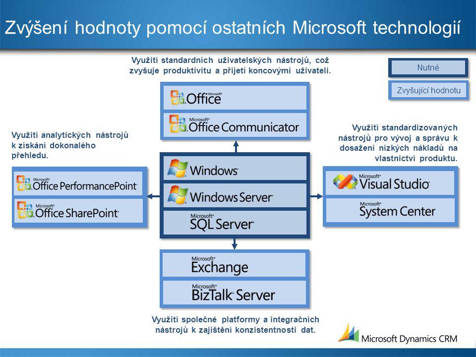 Zvýšení hodnoty pomocí ostatních Microsoft technologií