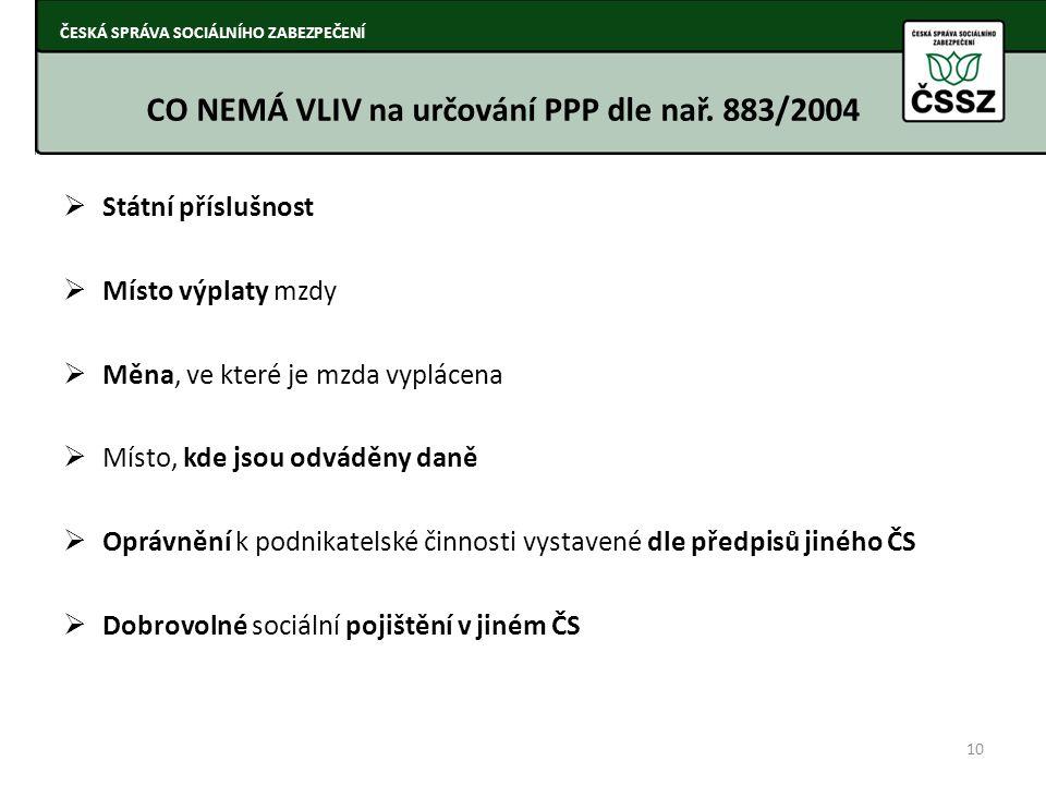 CO NEMÁ VLIV na určování PPP dle nař. 883/2004