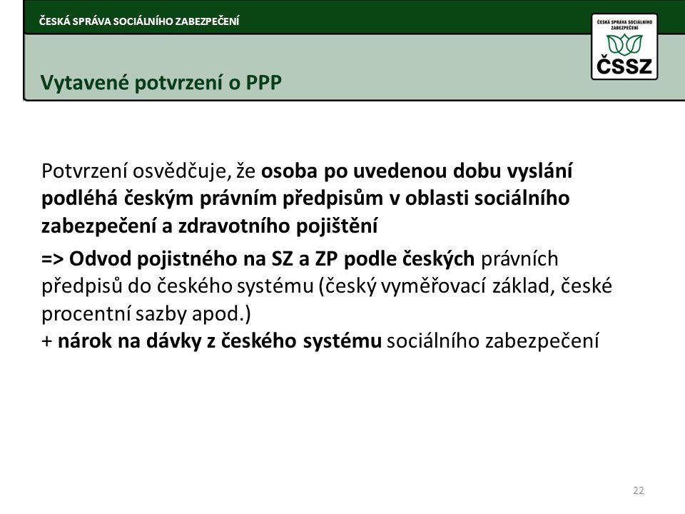 Vytavené potvrzení o PPP