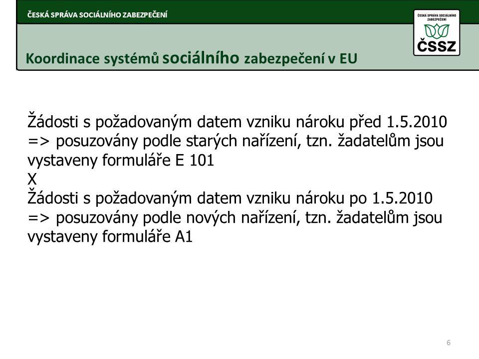 Koordinace systémů sociálního zabezpečení v EU