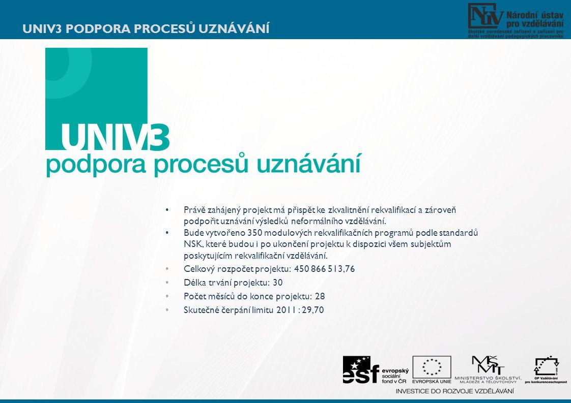 Univ3 podpora procesů uznávání
