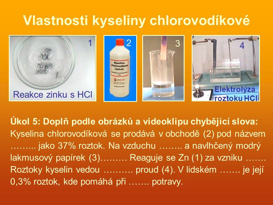 Vlastnosti kyseliny chlorovodíkové