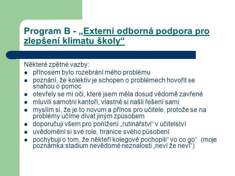 """Program B - """"Externí odborná podpora pro zlepšení klimatu školy"""