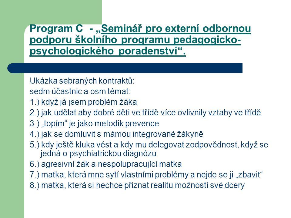 """Program C - """"Seminář pro externí odbornou podporu školního programu pedagogicko-psychologického poradenství ."""