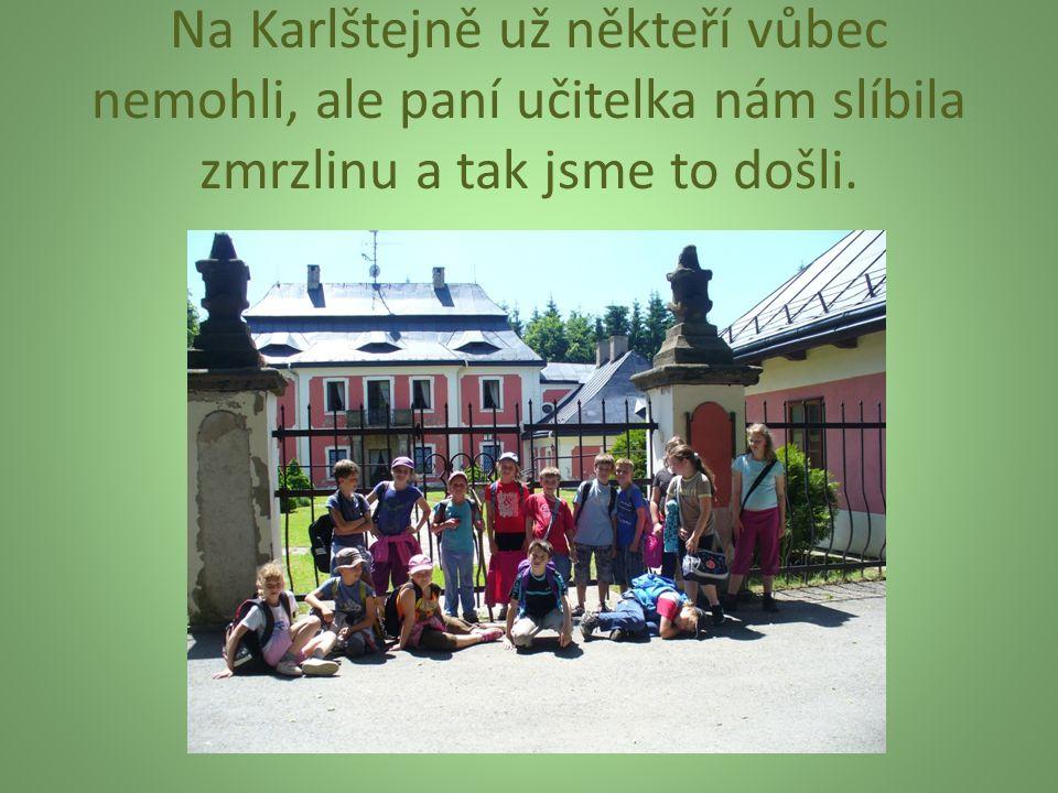Na Karlštejně už někteří vůbec nemohli, ale paní učitelka nám slíbila zmrzlinu a tak jsme to došli.