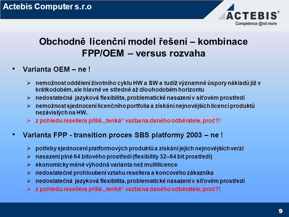 Obchodně licenční model řešení – kombinace FPP/OEM – versus rozvaha