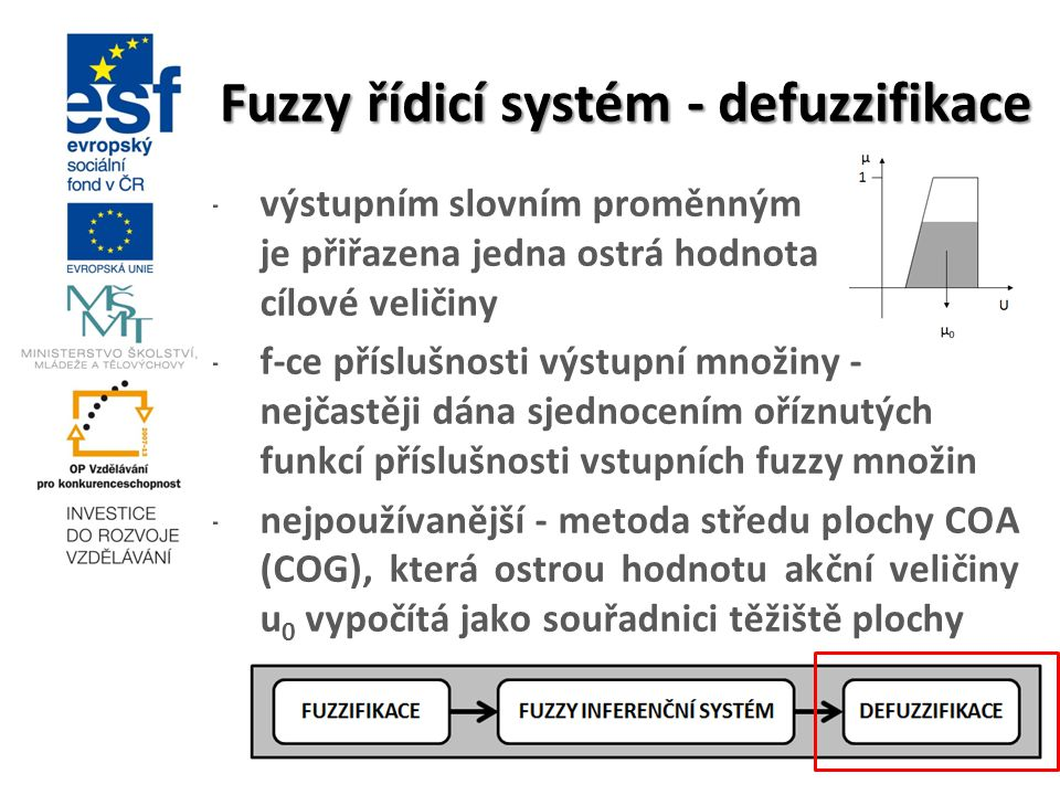 Fuzzy řídicí systém - defuzzifikace