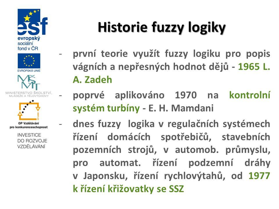 Historie fuzzy logiky první teorie využít fuzzy logiku pro popis vágních a nepřesných hodnot dějů - 1965 L. A. Zadeh.