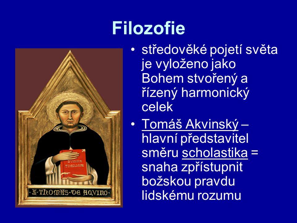 Filozofie středověké pojetí světa je vyloženo jako Bohem stvořený a řízený harmonický celek.