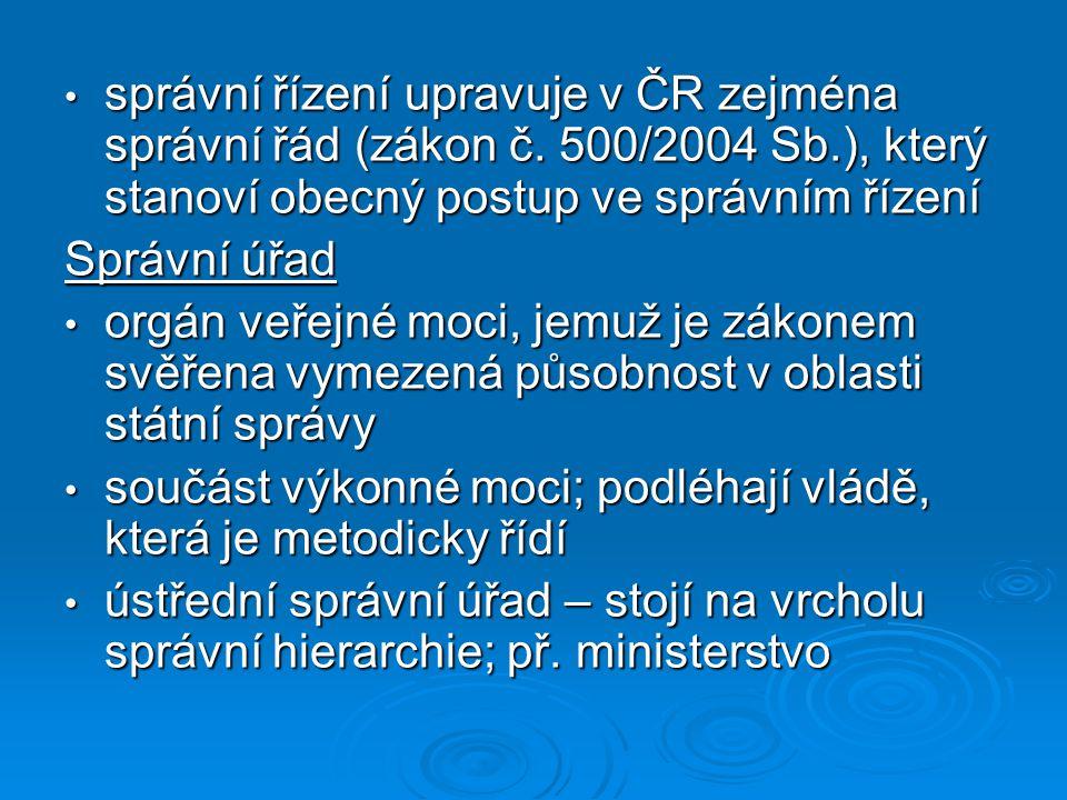 správní řízení upravuje v ČR zejména správní řád (zákon č. 500/2004 Sb