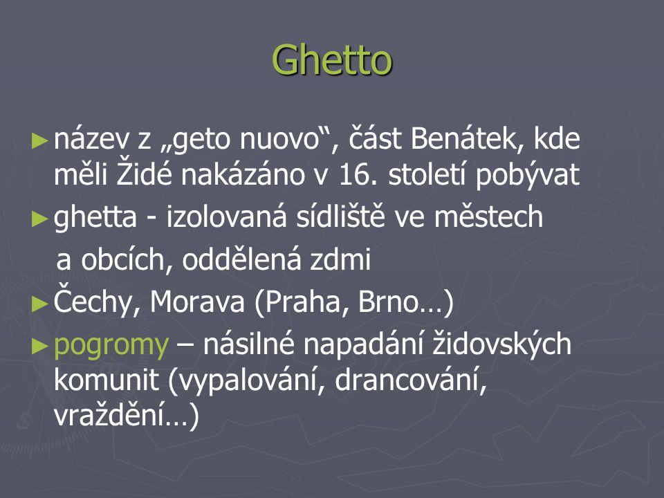 """Ghetto název z """"geto nuovo , část Benátek, kde měli Židé nakázáno v 16. století pobývat. ghetta - izolovaná sídliště ve městech."""
