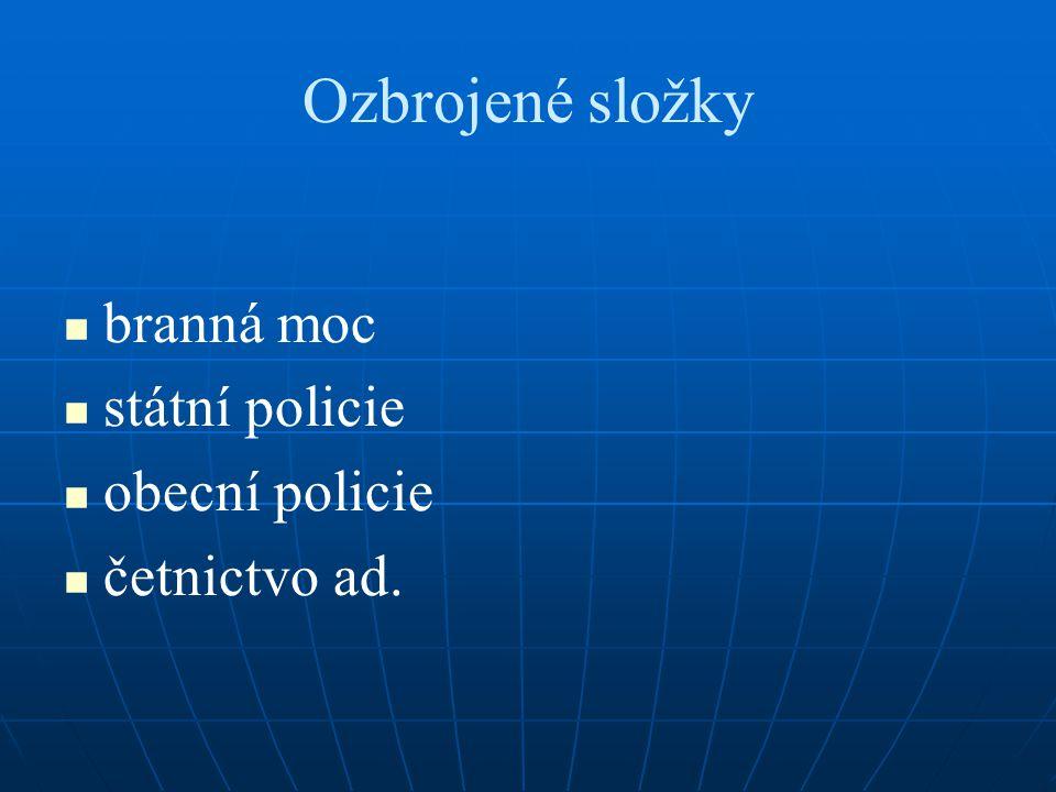 Ozbrojené složky branná moc státní policie obecní policie