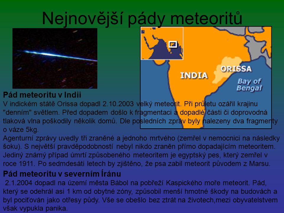 Nejnovější pády meteoritů