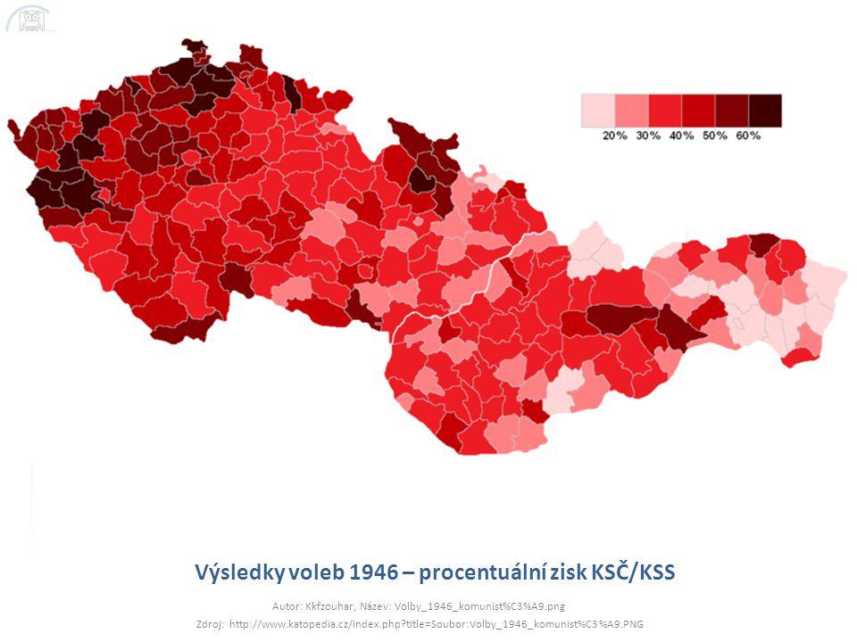 Výsledky voleb 1946 – procentuální zisk KSČ/KSS