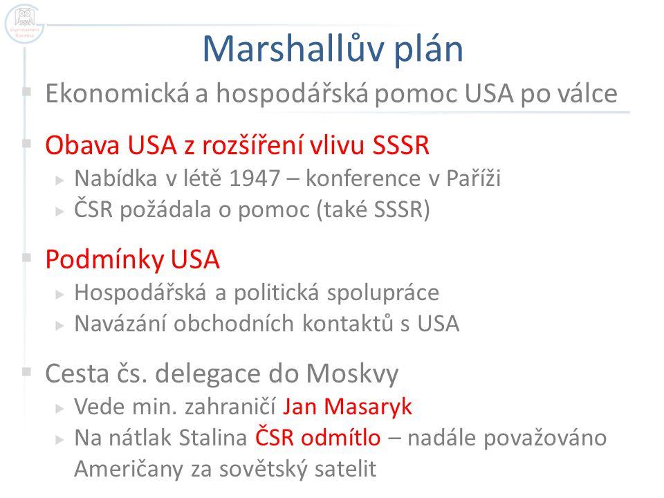 Marshallův plán Ekonomická a hospodářská pomoc USA po válce