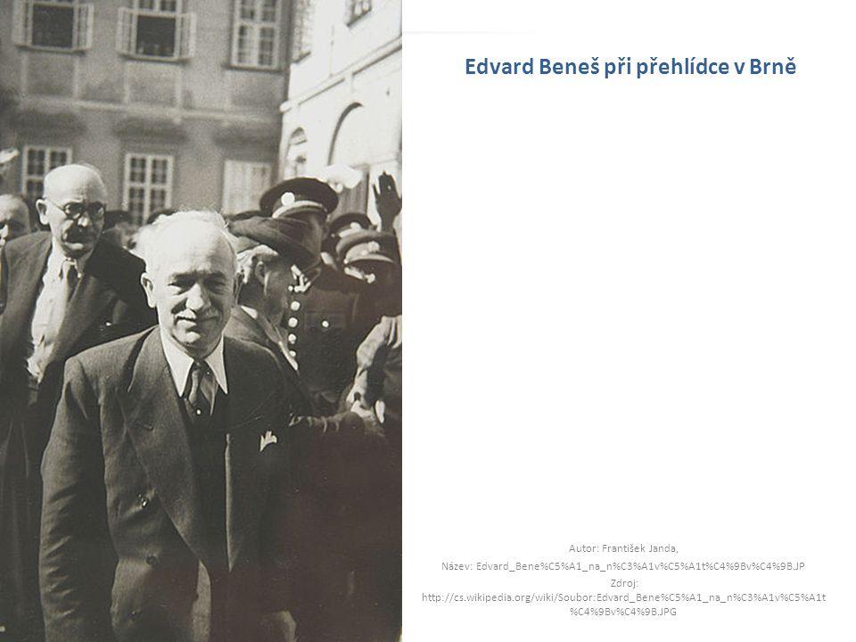 Edvard Beneš při přehlídce v Brně